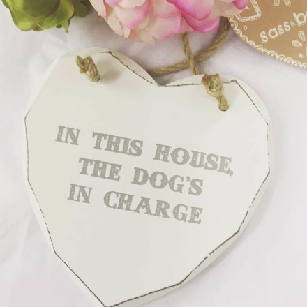 50% off In This House The Dog's In Charge Hanging Wooden Heart